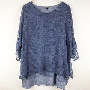 Hannah Mesh Knit Pom Pom Sequin Tunic Top Sz XL